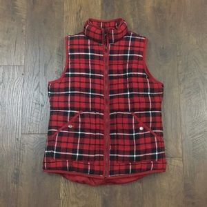 A New Day red buffalo plaid puffer vest